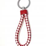 พวงกุญแจ(หนังเทียม)ห้อยกระเป๋า เกลียวสีแดงขาว 12อัน