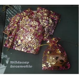 ถุงผ้าไหมลายกุหลาบสีชมพูเข้ม 9x11 ซม. 12 ใบ