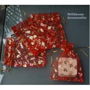 ถุงผ้าไหมลายหัวใจสีแดง 9x11 ซม. 12 ใบ