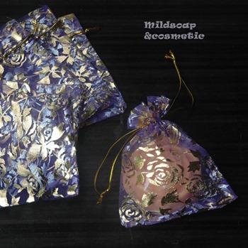 ถุงผ้าไหมลายกุหลาบสีม่วงม่วง 9x11 ซม. 12 ใบ
