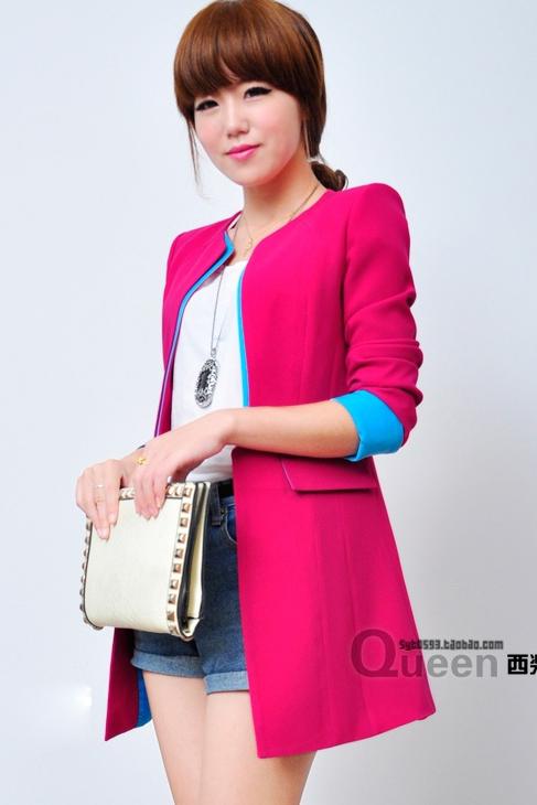 เสื้อสูทแฟชั่น พร้อมส่ง แขนยาว สีชมพูสดใส แต่งปลายแขนเสื้อสีฟ้า คอจีน ตัวยาวคลุมสะโพก