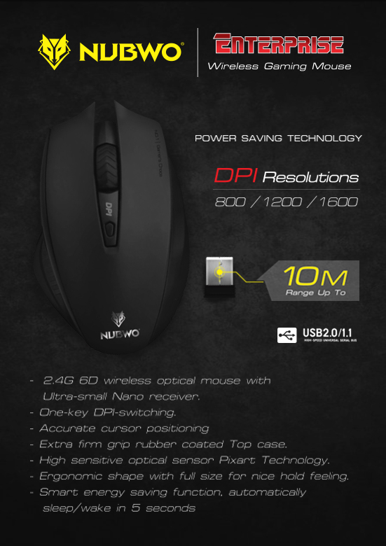 NM-09 NUBWO Optical Wireless Mouse
