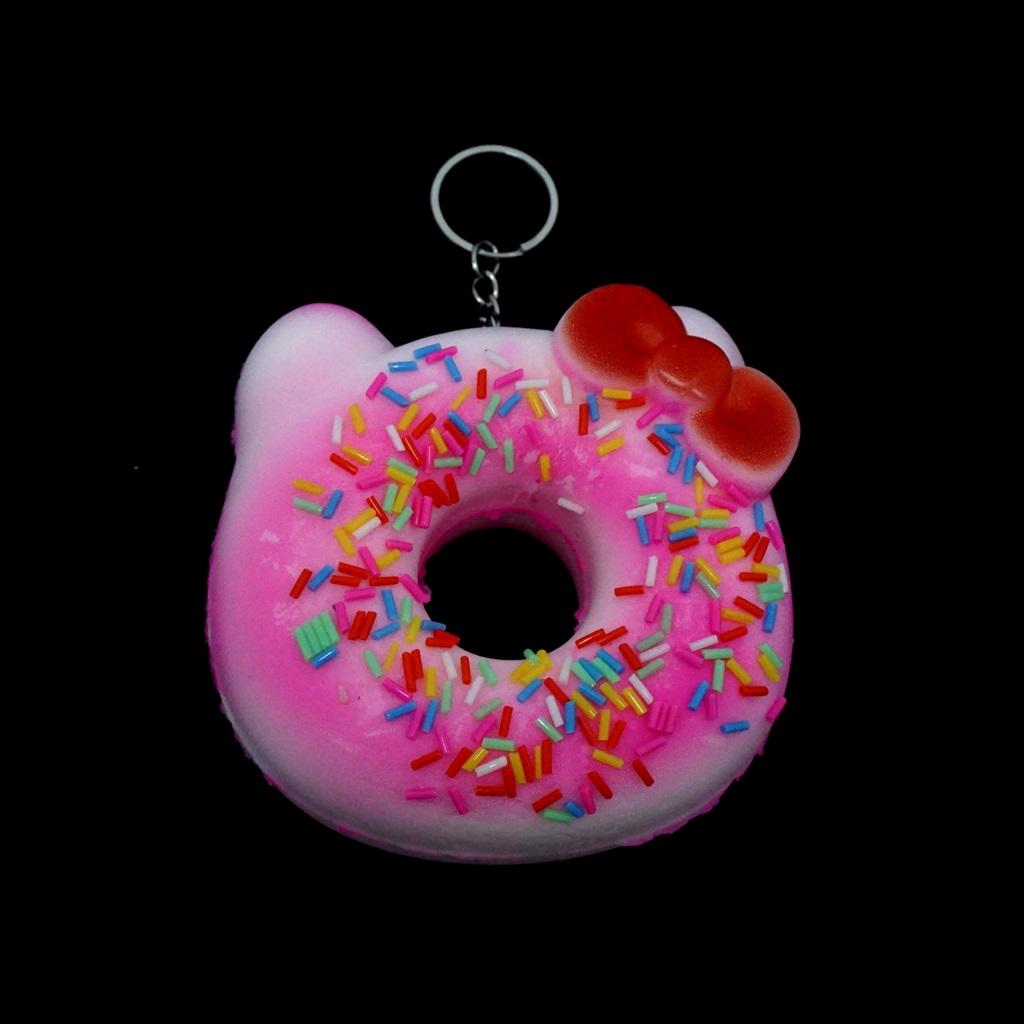พวงกุญแจ สกุชชี่โดนัทอันใหญ่(สีชมพู) 12อัน