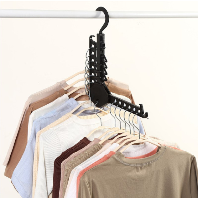 ไม้แขวนจัดระเบียบเสื้อผ้า สีดำ ซื้อ 1 แถม 1 ชิ้น