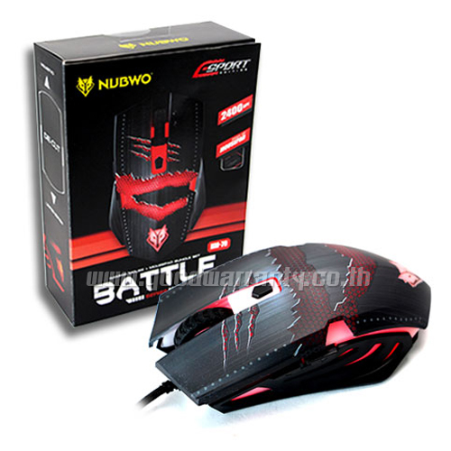 NM-079สีดำ+PAD NUBWO BATTLE Optical USB Mouse 2400DPI