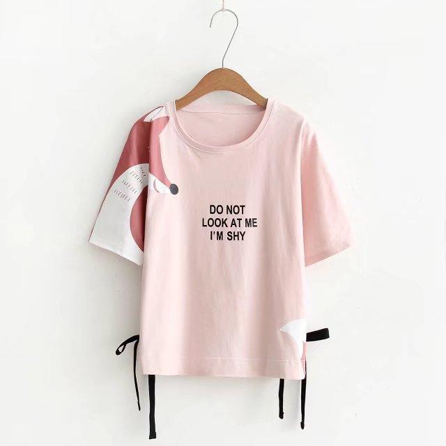 พร้อมส่ง เสื้อยืดสีชมพูลายจิ้งจอกน่ารักๆ