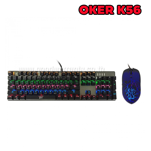 K56+MOUSE OKER KEYBOARD Mechanical RGB สีดำ