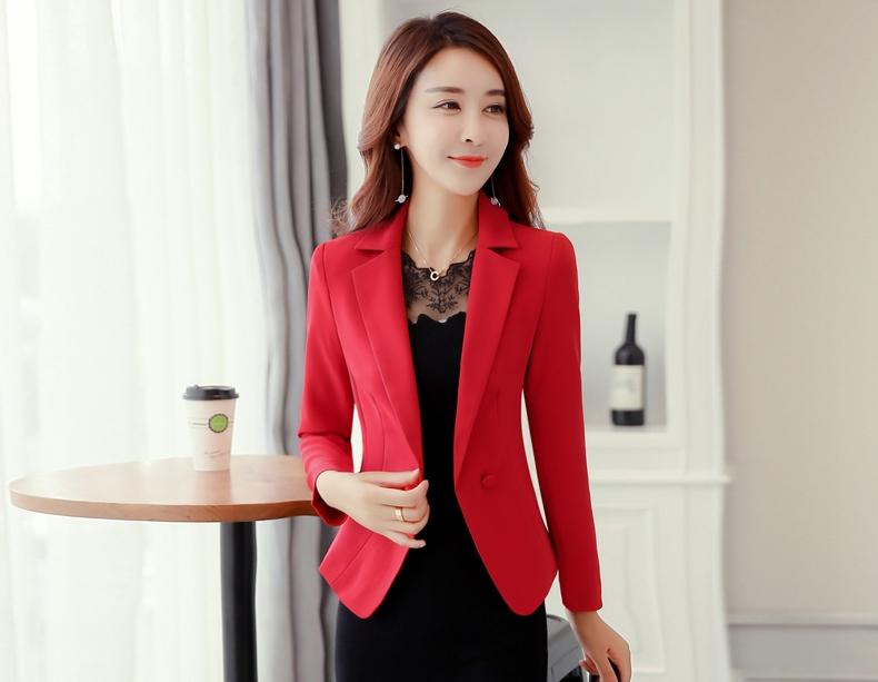 เสื้อสูททำงานผู้หญิงสีแดง คอปก ทรงเข้ารูป แขนยาว
