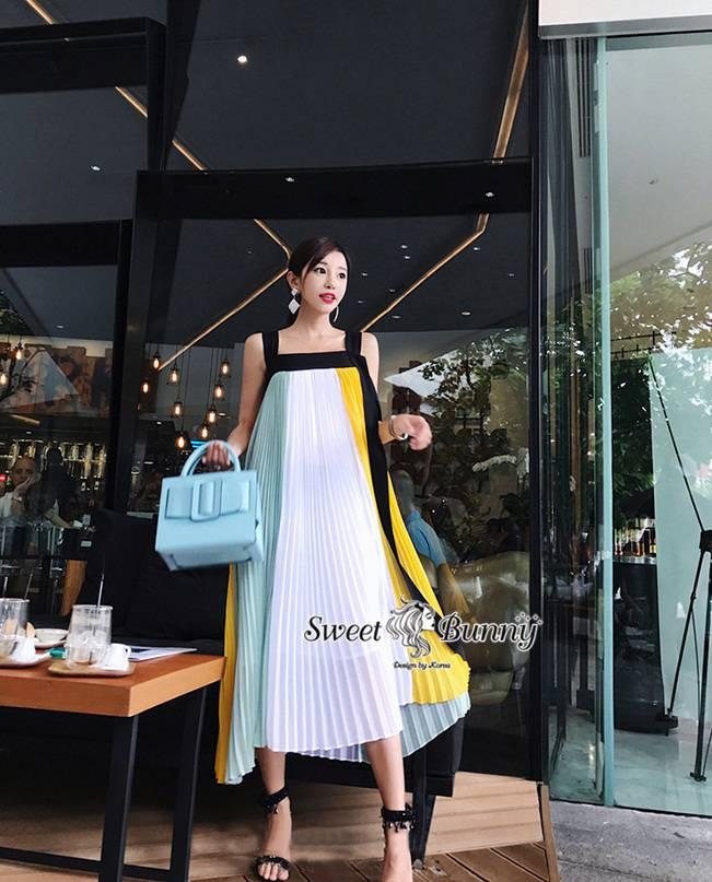 เดรสยาวอัดพีทงานแบรนด์เนมผ้าชีฟอง หมวดหมู่ เสื้อผ้าเกาหลีแบรนด์ sweet bunny