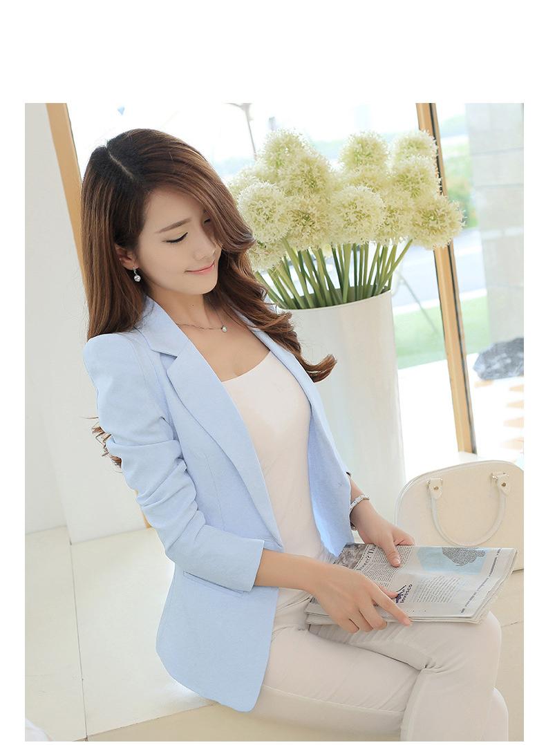 เสื้อสูทผู้หญิงแฟชั่นสีฟ้า แบบสวยหวานสไตล์เกาหลี 5 ไซส S/M/L/XL/2XL รหัส CB-1824 รายละเอียดสินค้า