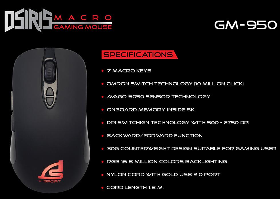 GM-950BLK สีดำ DSIRIS SIGNO MACRO GAMING 3200DPI