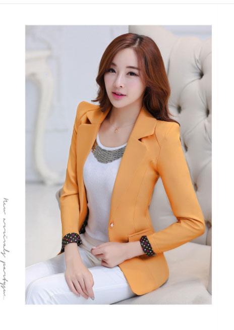 เสื้อสูทผู้หญิงแฟชั่นสีส้ม สไตล์สวยหวาน มี 5 ไซส S/M/L/XL/2XL รหัส CB- 1766 หมวดหมู่ เสื้อสูทผู้หญิง