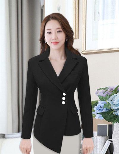 เสื้อสูทผู้หญิงแฟชั่นสีดำแต่งเฉียงหน้าสุดเก๋ ใส่ทำงานหรือออกงานได้สวยหรู 5 ไซส์ S/ M /L /XL /2XL รหัส CB-1839