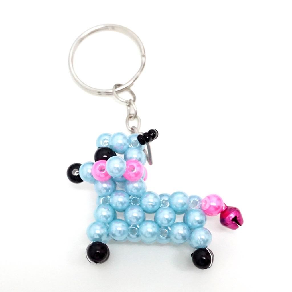 พวงกุญแจลูกปัด หมาน้อย(สีฟ้า) 12อัน