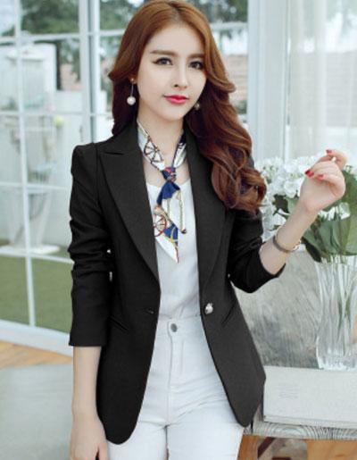 เสื้อสูทผู้หญิงแฟชั่นสีดำใส่ทำงาน สไตล์เรียบหรู 5 size S/M/L/XL/2XL รหัส CB-1825 หมวดหมู่ เสื้อสูทผู้หญิง