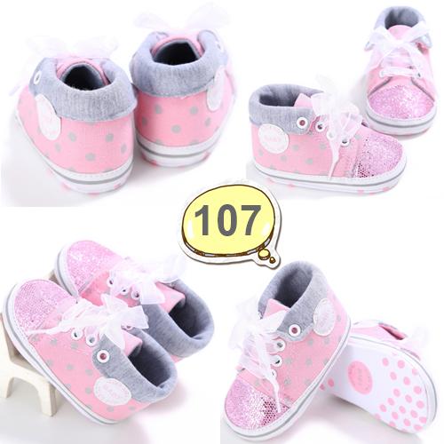 รองเท้าเด็กอ่อน รองเท้าเด็กหัดเดิน รองเท้าผ้าใบ สีชมพู ประกาย - Pink Sparkle 107