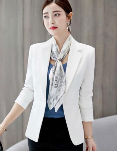 เสื้อสูทผู้หญิงแฟชั่นสีขาวใส่ทำงาน สไตล์เรียบหรู 5 size S/M/L/XL/2XL รหัส 1862 รหัสสินค้า 1862-สีขาว หมวดหมู่ เสื้อสูทผู้หญิง