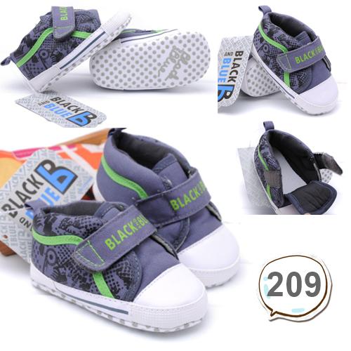 รองเท้าเด็กอ่อน รองเท้าเด็กหัดเดิน สีเทา - ฺBlack & Blue 209