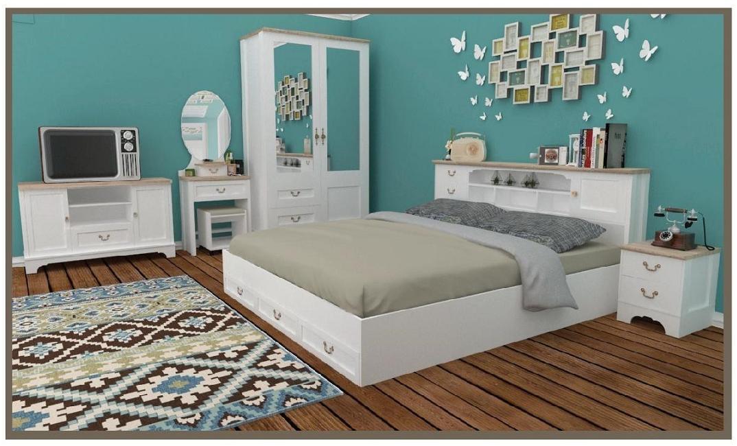 ชุดห้องนอนสไตล์วินเทจ เรีบยหรูย้อนยุค โทนสีขาว 5ชิ้น เตียงมี2ไซด์