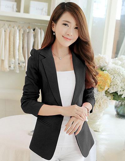เสื้อสูทผู้หญิงแฟชั่นสีดำใส่ทำงาน สไตล์เรียบหรู รหัสสินค้า CB-1713 หมวดหมู่ เสื้อสูทผู้หญิง