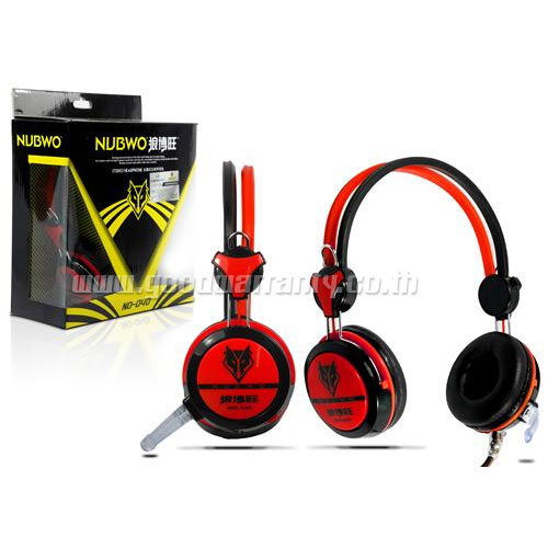 NO-040 สีแดง NUBWO HEADPHONE+MIC