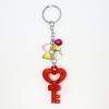 พวงกุญแจคริสตัล กุญแจหัวใจ(สีแดง) 12อัน