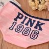 กางเกงในผ้าฝ้ายผสม ลายPINK สีชมพูขอบน้ำเงิน