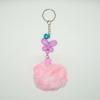 พวงกุญแจปอมปอมขนาดเล็ก สีชมพูล้วน 12อัน