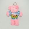 พวงกุญแจผ้าสักหลาด หมีน้อยใส่เสื้อสีชมพู 12อัน