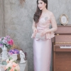 ชุดเดรสออกงานยาวสีชมพูโกลว์ เซ็ทเสื้อ-กระโปรงยาว เรียบหรู สวยสง่า
