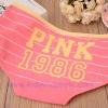 กางเกงในผ้าฝ้ายผสม ลายPINK สีชมพูขอบเหลือง