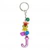 พวงกุญแจตัวอักษร Jสีชมพูอมม่วง(แบบเล็ก) 12อัน