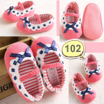 รองเท้าเด็กอ่อน รองเท้าเด็กหัดเดิน สีชมพู ประดับโบสีน้ำเงิน - Pink & blue ribbon 102