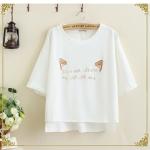 เสื้อยืดสีขาวลายหูแมวน่ารักๆค่ะ