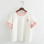 เสื้อยืดสีขาวแขนระบายสีชมพูน่ารักๆ