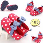 รองเท้าเด็กอ่อน รองเท้าเด็กหัดเดิน สีแดง ประดับโบน้ำเงิน - Red & blue ribbon 103
