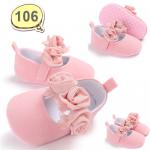 รองเท้าเด็กอ่อน รองเท้าเด็กหัดเดิน รองเท้ารัดส้น สีชมพู ประดับดอกไม้ - Pink flower 106