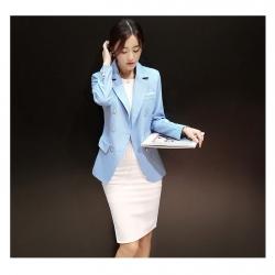 เสื้อคลุมทำงานแขนยาวสีฟ้า