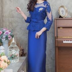 ชุดไปงานแต่งงาน ชุดไปงานแต่งสีน้ำเงิน Set เสื้อลูกไม้ชายระบายแขนสามส่วน เนื้อผ้าอย่างดีสั่งทำพิเศษ มาพร้อมกระโปรงผ้าไหมสีพื้นทรงสอบผ่าหลังผ้าสวยมากๆคะ
