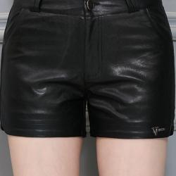 กางเกงหนัง พร้อมส่ง กางเกงหนังขาสั้น สีดำ ทำจากหนังแกะสังเคราะห์ หนังเนื้อนิ่ม6