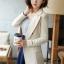 เสื้อสูทแฟชั่น เสื้อสูททำงาน เสื้อสูทผู้หญิง พร้อมส่ง เสื้อสูทสีครีม เนื้อผ้าโพลีเอสเตอร์ คอตตอน 100 % คุณภาพดี