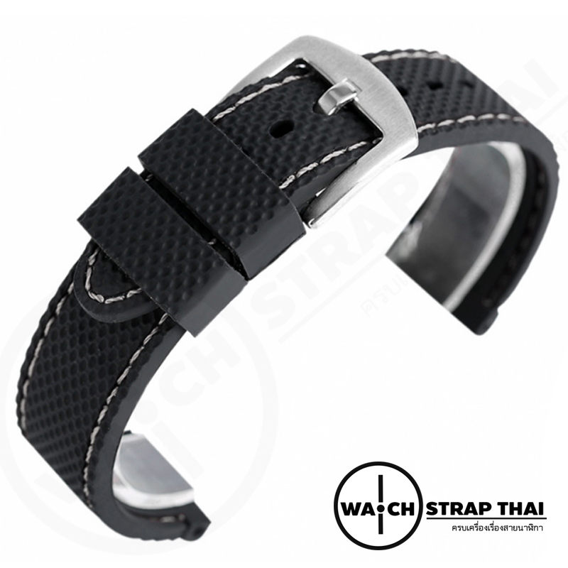 สายนาฬิกายาง SET03 เดินด้ายขาว Rubber Watch Strap White มีขนาด 20,22 mm
