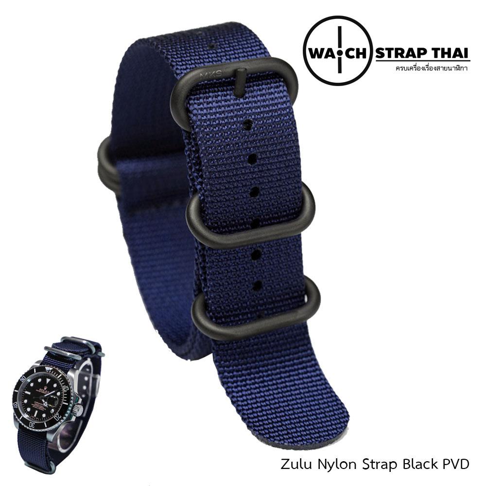 สายนาฬิกาซูลูหัว บัคเคิลดำ สายนาฬิกาผ้าไนลอน Blue Zulu Nylon Watch Strap Black Buckle สีน้ำเงิน มีขนาด 20 , 22 mm