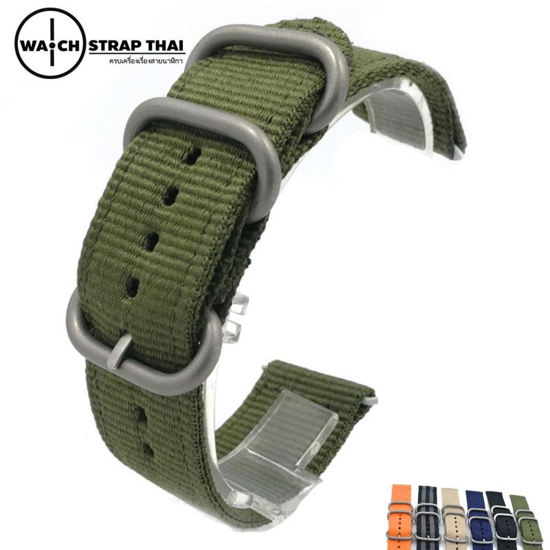 สายนาฬิกา สายนาฬิกาผ้าไนลอน SET02 Black Nylon Watch Strap สีเขียว Green มีขนาด 20 , 22 mm
