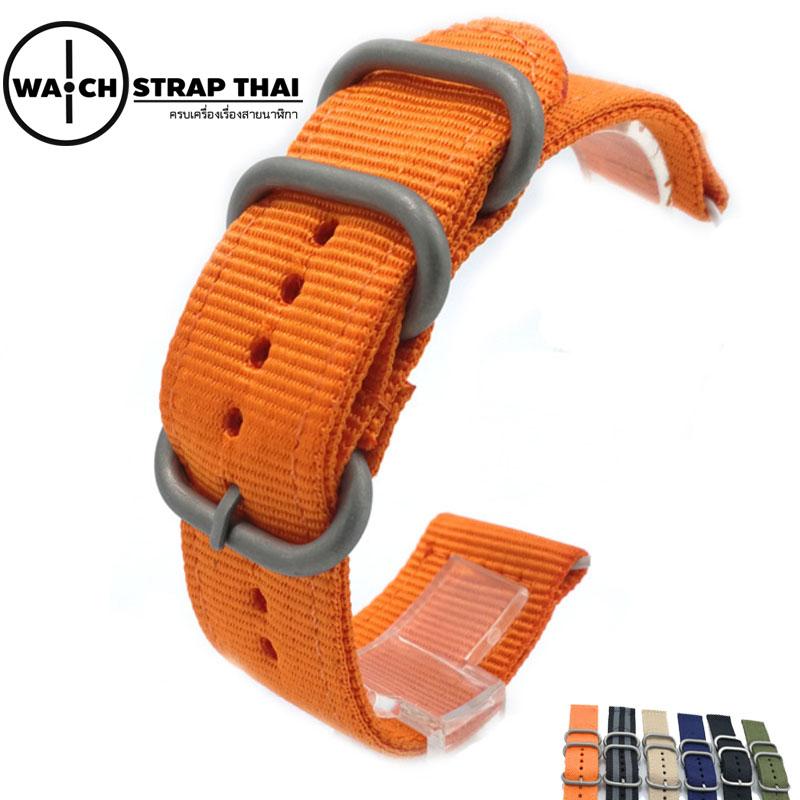 สายนาฬิกา สายนาฬิกาผ้าไนลอน SET02 Black Nylon Watch Strap สีส้ม Orange มีขนาด 20 , 22 mm