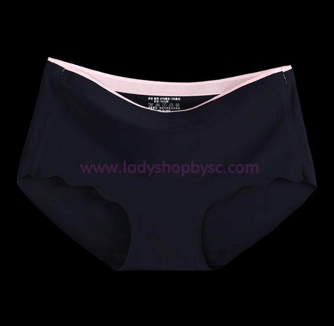 กางเกงในไร้ขอบแถบสี สีดำ