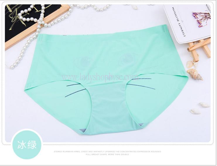 กางเกงในไร้ขอบพิมพ์ลายน่ารัก สีเขียวน้ำทะเล