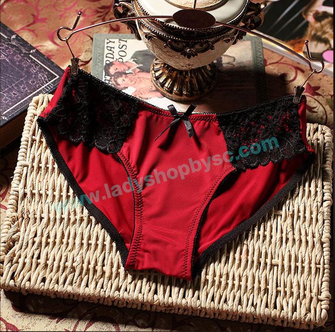 กางเกงในผ้าPolyผสมผ้าฝ้ายBikini สีแดง-ดำ