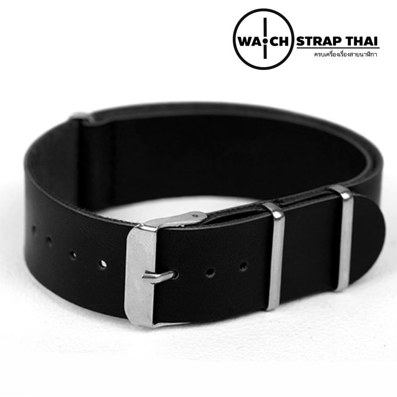 สายนาฬิกานาโต้ สายนาฬิกาหนังวัว Black Nato Leather Strap มีสี Brown มีขนาด 20 , 22 mm สีดำ