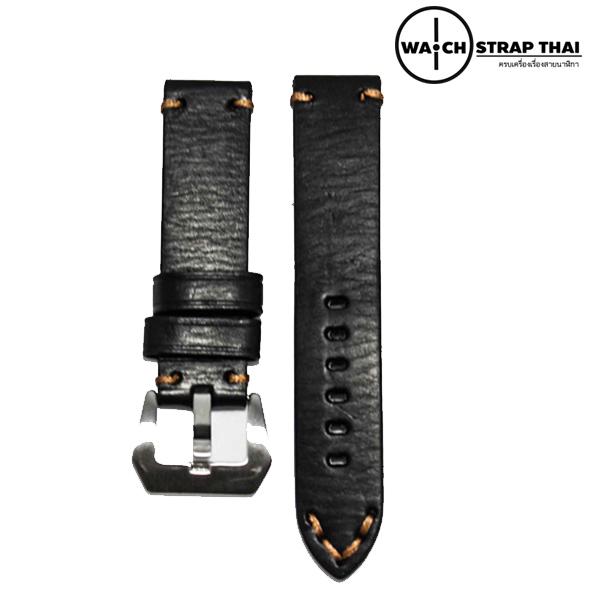 สายนาฬิกา สายนาฬิกาหนังวัว SET02 Leather Strap มีสี Black สีดำ ขนาดความกว้างสาย 20 , 22 mm